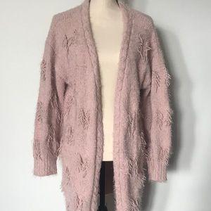 *5/$25* Pink Fringe Cardigan